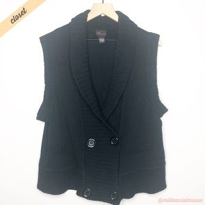 [Torrid] Black Shawl Collar Sweater Vest Cardigan